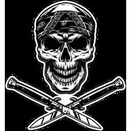 Наклейка Череп в бандане и два клинка, фото 1
