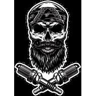 Наклейка Бородатый череп в бандане и две свечи зажигания, фото 1