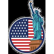 Наклейка Статуя свободы на звездно полосатом флаге, фото 1