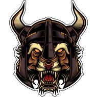 Наклейка Тигр в шлеме с рогами, фото 1