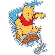 Наклейка Винни Пух на бочке плывет по реке, фото 1