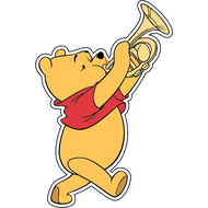 Наклейка Винни Пух с трубой, фото 1