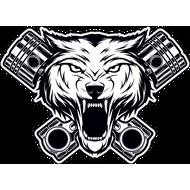 Наклейка Голова волка с поршнями-096, фото 1