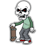 Наклейка Скелет со скейтом, фото 1