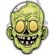 Наклейка Голова зомби, фото 1