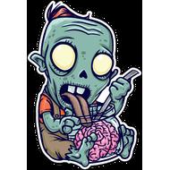 Наклейка Зомби ест мозги, фото 1