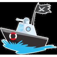 Наклейка Катер с черным флагом, фото 1