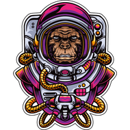 Наклейка Обезьяна космонавт, фото 1