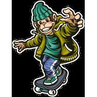 Наклейка Обезьяна скейтер, фото 1