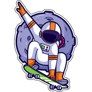Наклейка Космонавт на скейте, фото 1