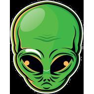 Наклейка Зеленая голова пришельца, фото 1