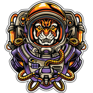 Наклейка Тигр космонавт, фото 1