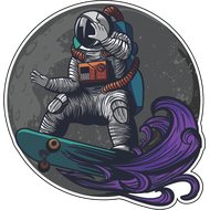 Наклейка Космонавт на скейте на орбите Луны, фото 1