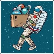Наклейка Космонавт с коробкой планет, фото 1