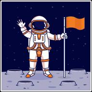 Наклейка Человек на луне, фото 1