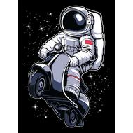 Наклейка Космонавт на мопеде в открытом космосе, фото 1