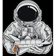Наклейка Космонавт с шатлом в руках, фото 1