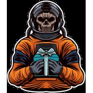 Наклейка Мертвый космонавт с подарком, фото 1