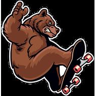 Наклейка Медведь на скейте, фото 1