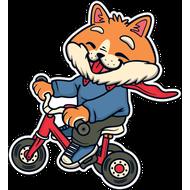 Наклейка Малыш Лис на велосипеде, фото 1