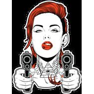 Наклейка Рыжая девушка с пистолетами, фото 1