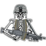 Наклейка Скелет с автоматом, фото 1