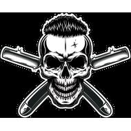 Наклейка Череп хипстера с опасными бритвами, фото 1