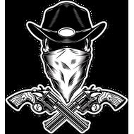 Наклейка Череп в черной ковбойской шляпе, фото 1