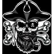 Наклейка Череп пирата с черной бородой, фото 1