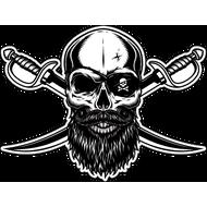 Наклейка Бородатый пиратский череп с двумя клинками, фото 1