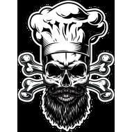 Наклейка Череп бородатого шеф-повара, фото 1
