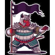 Наклейка Толстый Самурай с флагом, фото 1