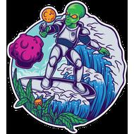 Наклейка Пришелец на серфе, фото 1