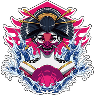 Наклейка Японская женщина в маске смерти-214, фото 1