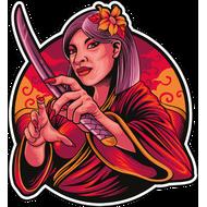 Наклейка Японская женщина самурай-222, фото 1