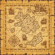 Наклейка Пиратская карта острова сокровищ-085, фото 1