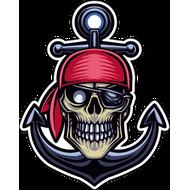 Наклейка Череп пирата с якорем-087, фото 1