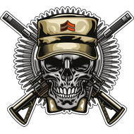 Наклейка Армейский череп с автоматами-333, фото 1