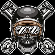 Наклейка Череп байкера с поршнями-342, фото 1