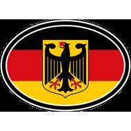 Наклейка Флаг Германии с гербом овальный, фото 1