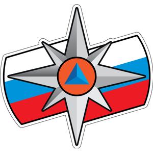 Наклейка Логотип МЧС с флагом, фото 1