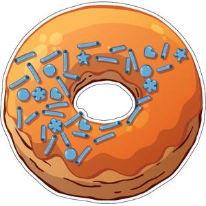 Наклейка Пончик в оранжевой глазури, фото 1