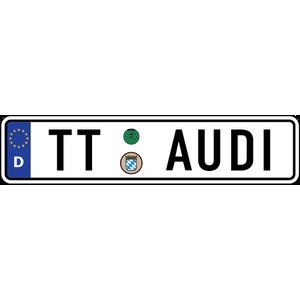 Наклейка Евро-номер AUDI TT-серии, фото 1