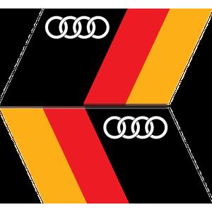 Комплект из 2 наклеек Немецкий флаг с логотипом Audi, фото 1
