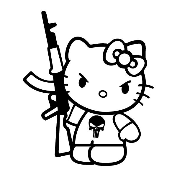 Наклейка Китти с калашом, фото 13