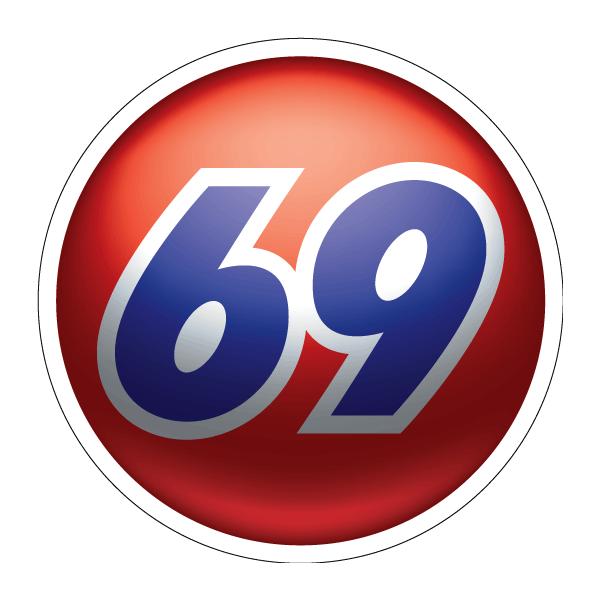 Наклейка 69 объемный дизайн, фото 1