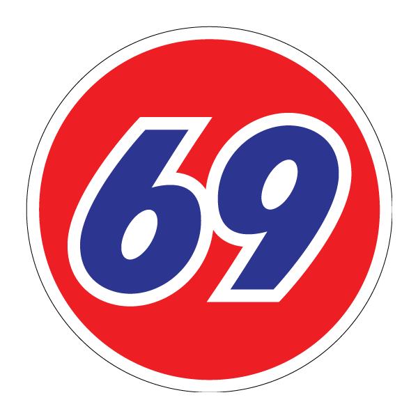 Наклейка 69 плоский дизайн, фото 1