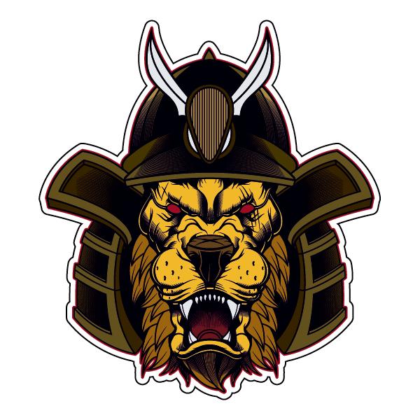 Наклейка Лев в самурайском шлеме-095, фото 1