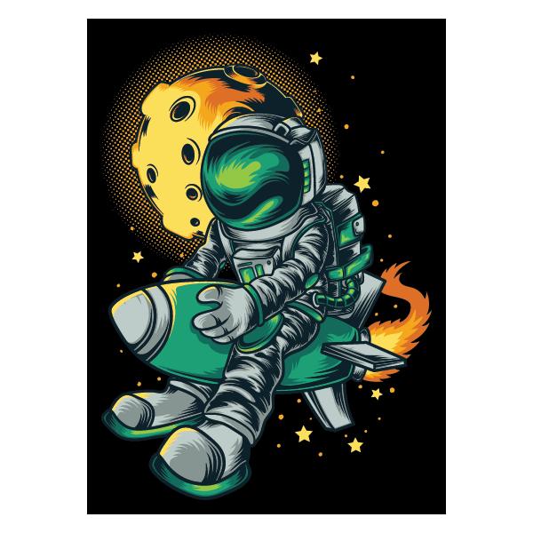 Наклейка Космонавт верхом а ракете, фото 1