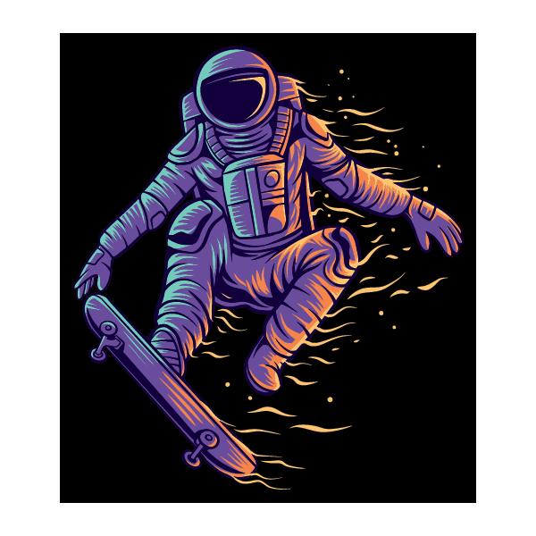 Наклейка Покорение космоса на скейте, фото 1